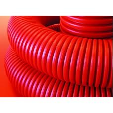 Двустенная труба ПНД гибкая для кабельной канализации д.125мм с протяжкой, SN8, в бухте 50м, цвет красный