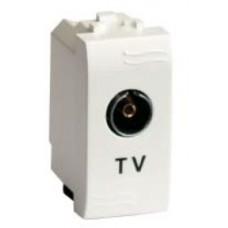 TV розетка с согласующим сопротивлением (универсальная), белая, 1мод.