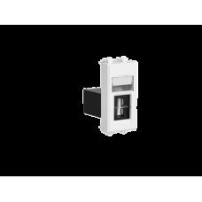 """USB 2.0 розетка модульная, тип А-А, """"Avanti"""", """"Белое облако"""", 1 модуль"""
