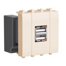 """USB зарядное устройство модульное, """"Avanti"""", """"Ванильная дымка"""", 2 модуля"""