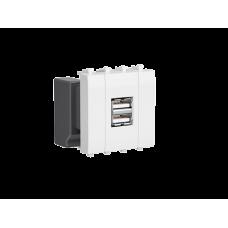 """USB зарядное устройство модульное, """"Avanti"""", """"Белое облако"""", 2 модуля"""